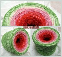 Erdbeere: Hochbauschacryl 3 fädig 5 Farben: weinrot rot altrosa lindgrün froschgrün