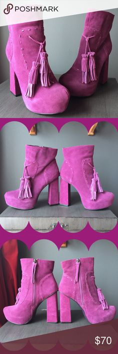 """Rare Mojo Moxy Wonderland Platform Suede Bootie Head turning style begins at your feet! These rare & beautiful Mojo Moxy ankle booties were an online exclusive & are sold out everywhere! Worn only once, they are in fabulous like-new condition. Suede upper, Center tassels and stitching accents, Inside zipper, 1¼"""" hidden platform, 5"""" block heel, Synthetic sole. Women's size 9, fits true to size. Item #252799 UPC #847500081456 Tags: alice, retro, platform, almond toe, nasty gal, dollskill, YRU…"""