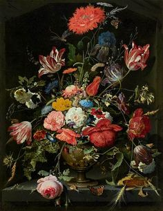 Abraham Mignon (Dutch, 1640 - 1679) - Flowers in a metal vase, c. 1670 - Oil on board