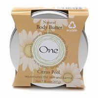 One Natural Body Butter Citrus Peel by One. $11.99. One planet to preserve | One life to live | One moment to enjoy!Citrus Peel - Rejuvenates the skin and karmaNatural creamy shea body butter rehydrates your body from fingertips to tippy toes. Soothes and smoothes your overworked and dry skin. Hooray for Shea!Natural Beauty & No Plastic & Recyclable & Cruelty FreeMade in China