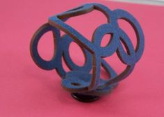 Blue Felt Laser Cut Interlocking Circle Cuff by Melanielynndesign