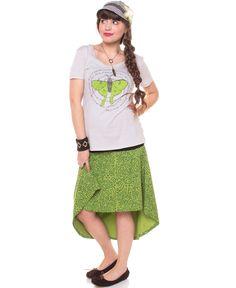 Printed Organic Hi Lo Skirt: Soul Flower Clothing