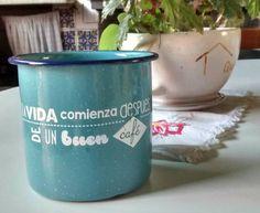 """Pocillos decorados... """"La vida comienza después de un buen café"""" Coffe Vintage Mug Taza de Peltre con Diseño. Petritas"""