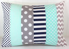 Pillow Cover, Nursery Pillow Cover, Patchwork Pillow, Boy Nursery Decor, Nautical, 12 x 16 Inches, Mint Green, Gray, Grey, Navy Blue