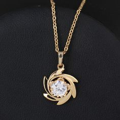 45.5cm 18K Gold Plated Windmill Design Inlay White Zircon Pendant Copper Necklace