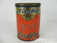 vintage Nash coffee tin can