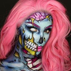 Pop art zombie makeup by have you beauties decided on your Halloween makeup look yet? Tell us in the comments! Looks Halloween, Zombie Halloween, Halloween Horror, Halloween Costumes, Pop Art Makeup, Crazy Makeup, Makeup Ideas, Makeup Tutorials, Makeup Trends