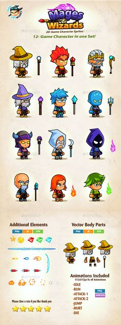Mages & Wizards Game Character Sprites — Vector EPS #pack #side scroller • Available here → https://graphicriver.net/item/mages-wizards-game-character-sprites/15853689?ref=pxcr