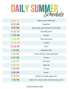 This is such a cute idea and helpful guideline of a summer schedule for my kids. It includes play time, free time, learning activities for the day. The summer activity planner has some helpful ideas of what to do with my kids during break! Kids Summer Schedule, Toddler Schedule, Summer Activities For Kids, Toddler Activities, Daily Schedule Kids, Daily Routine Chart, Family Schedule, Schedules For Kids, Kids Schedule Chart