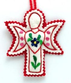 Embroidered Felt Angel Ornament  Hungary