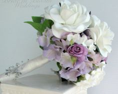 Wedding bouquet  Coral rose white real touch calla lily
