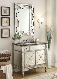 """36"""" BLack Garnite Top Ashlyn Bathroom Sink Vanity & Mirror Set - YR-023G-36/2206"""