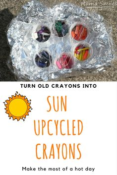 This is brilliantly fun science for a hot day! Turn old crayons into new ones in a DIY solar oven. This is brilliantly fun science for a hot day! Turn old crayons into new ones in a DIY solar oven. Science Crafts For Kids, Summer Activities For Kids, Science Experiments Kids, Stem Activities, Kid Crafts, Kid Science, Outdoor Activities, Science For Kindergarten, Science Centers