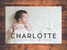Customised Printable Birth Announcement   CHARLOTTE
