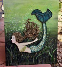 Mermaid Decor Green Diving Original Beach Wall by MidorisMyMuse