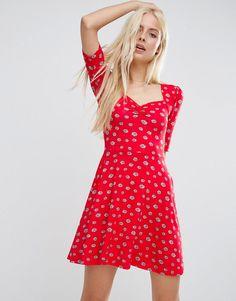 Image 1 ofASOS Sweetheart Skater Dress In Red Daisy Print