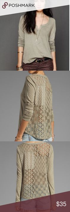 Free People Patches of Lace Henley  Free People Patches of Lace Henley in olive.  Patches of Lace give this slubbed henley a romantic update and raw edges create a subtle deconstructed look.  Sheer back.  In excellent condition. Free People Tops