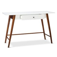 Porter Mid Century Modern Two-Tone Writing Desk/Console table -White/Brown : Target