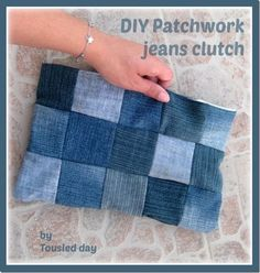 Make a Patchwork Denim Clutch Purse from Recycled Jeans Bag Patterns To Sew, Sewing Patterns, Tee Shirt Crafts, Denim Purse, Clutch Purse, Denim Skirt, Coin Purse, Clutch Tutorial, Patchwork Jeans