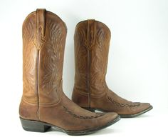 cowboy boots mens 9.5 EE wide brown by vintagecowboyboots on Etsy