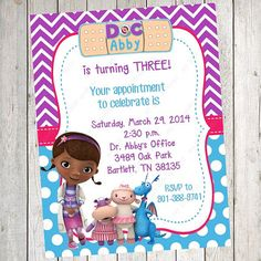 10 PRINTED Doc McStuffins Invitations with by BethCloud723 on Etsy