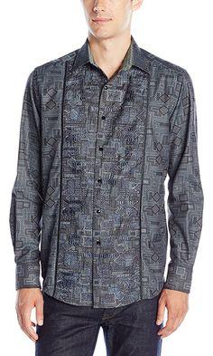 Robert Graham Men's Ltd Ed Limited Edition Long Sleeve Button Down Shirt, Charcoal, XXX-Large Best Price