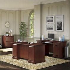Kathy Ireland Coastal Cherry Office Volcano Dusk L Shaped Desk With 2  Pedestals (Coastal Cherry), Brown | Kathy Ireland, Dusk And Desks
