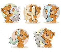 Buy Letters of the English Alphabet with Teddy Bears by vectorpocket on GraphicRiver. Set of vector letters of the English, the Latin alphabet are in the clutches of funny teddy bear. Part 2 – the letter. Tatty Teddy, Create A Business Logo, Baby Posters, Blue Nose Friends, Bear Theme, English Alphabet, Bear Party, Alphabet Coloring, Letter Stencils