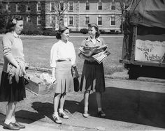 Duke University students collecting various scarps for the war effort, 1940s. #vintage #1940s #women #WW2
