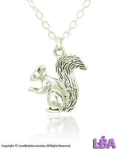 LBA: ANIMALS - New Fashion Women Vintage Silver Tone SQUIRREL Pendant Necklace #LoveBirdyAccessoriesLBA #Pendant