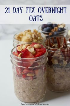 Healthy Fit An easy tutorial on how to prepare 21 Day Fix Overnight Oats in bulk with fun, customizable toppings for healthy breakfasts all week long. 21 Day Fix Diet, 21 Day Fix Meal Plan, Week Diet, Vegan 21 Day Fix, 21 Day Fix Breakfast, Breakfast On The Go, Breakfast Ideas, Brunch Ideas, Mexican Breakfast