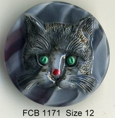 Cat button black striped Czech glass with sriped cat   - size 12, 27 mm FCB 1171 by buttonsandshanks on Etsy