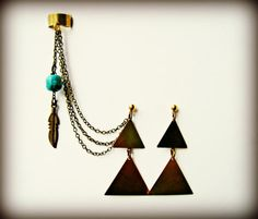 feather and turquoise ear cuff with triangle earrings