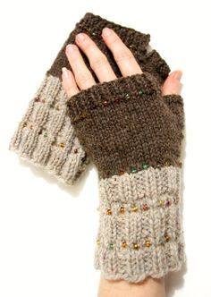 Wool mittens fingerless mittens brown gloves by FruitofPhalanges, $40.00