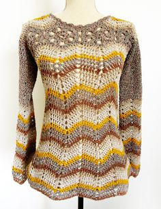 Boho chic - ripple crochet tunic top Sofia with pattern and charts. My new pattern is a 70's inspired tunic with wavy patterns in str...