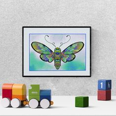 Butterfly nursery decor, butterfly watercolor nursery print, moth print, baby shower gift, kids bedroom decor, printable
