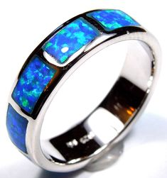 This ring has 10 total pieces of opal inlay stones all across the band. Our silver is genuine 925 sterling silver and Rhodium plated for better quality and prolonged shine. You will receive the item in a gift box. Gold And Silver Bracelets, Cheap Silver Rings, Mens Silver Necklace, Sterling Silver Bracelets, Silver Earrings, Mens Band Rings, Rings For Men, Mens Diamond Wedding Bands, Mens Ring Sizes