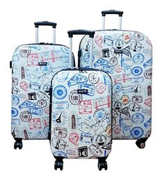 Luggage Sets Collections | Kemyer Hard Shell Wheeled Spinner 3 Piece Luggage Set One Size Silver Stamp >>> You can get more details by clicking on the image.(It is Amazon affiliate link) #love