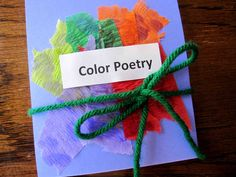 Easy-to-make books featuring colors and poetry.  Looks like lots of prep for the adult do.