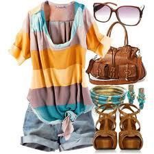 Knotted T, Jean Shorts, Wedges, Oversized Bag, Accessories and Shades = Effortless Chic