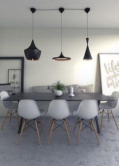 Interior design dining room - Architecturual Visualisation, Interior CGI, Eames Chairs and Tom Dixon lights Luxury Dining Room, Dining Room Design, Living Room Chairs, Dining Chairs, Desk Chairs, Office Chairs, Muebles Living, Eames Chairs, Room Interior Design