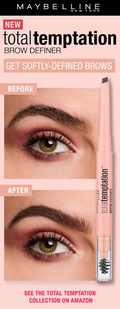 Get softly defined, natural looking brows with NEW Total Temptation Brow Definer. Use the unique teardrop shaped applicator to apply and use the spoolie end to blend.