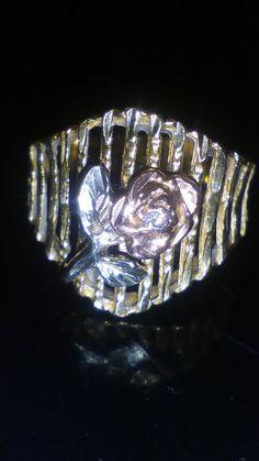 Ladies Estate Rose Gold Hands Garnet Ring Tri Colored