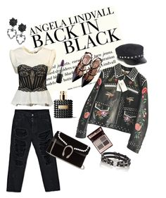 """""""Back in black"""" by ratjuli ❤ liked on Polyvore featuring H&M, Unravel, Gucci, Alexander Wang, Valentino, Monki, MAC Cosmetics and Charlotte Tilbury"""