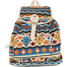 Fantasia Accessories  Tribal Print Woven Backpack (235.940 IDR) ❤ liked on Polyvore featuring tops, bags, backpacks, accessories, purses, multi colored, wet seal, studded top, tribal print tops and multi color tops