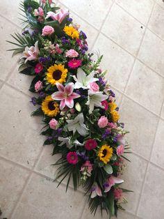 5 ft coffin spray vibrant selection of flowers Casket Flowers, Altar Flowers, Beautiful Flower Arrangements, Funeral Flowers, Beautiful Flowers, Arrangements Funéraires, Funeral Arrangements, Funeral Caskets, Casket Sprays
