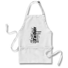 Black and White Father Word Collage Apron Dad Father's Day Gift Idea for the BBQ dad