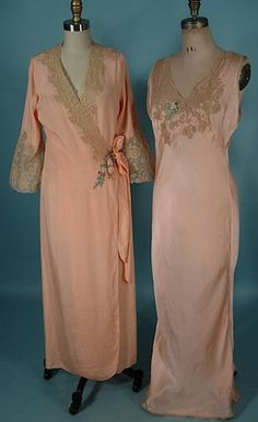 c. 1930's Peach Rayon Crepe Robe and Pink Silk Satin Nightgown