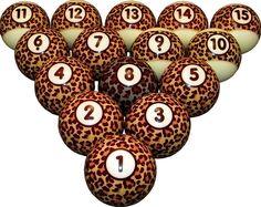 Leopard Print Pool / Billiard Ball Set