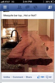 Bar top for NC house. Not sure Mesquite would work well plus it's unusual to get a mesquite this large due to root spread not holding in wind.